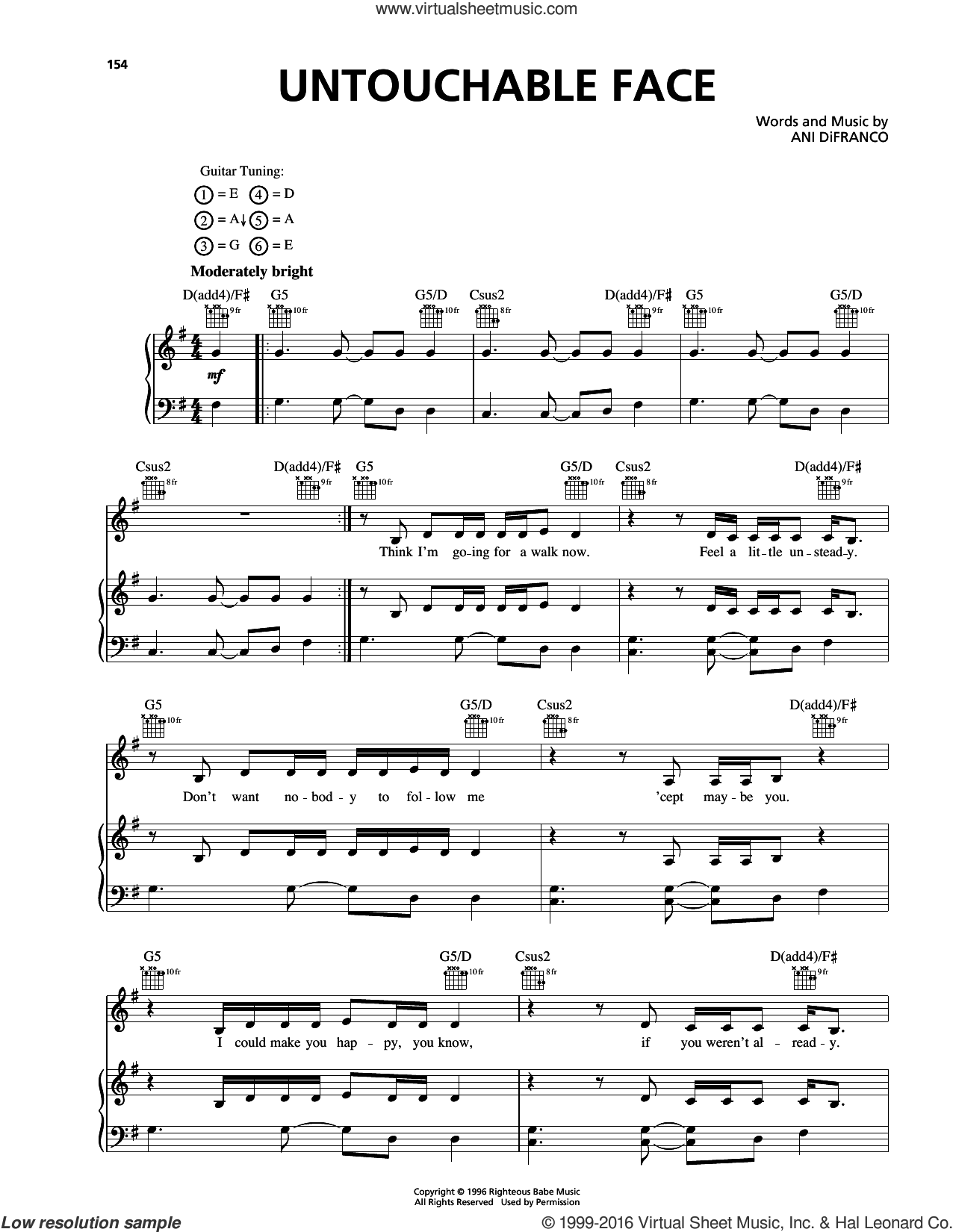 Untouchable Face sheet music for voice, piano or guitar by Ani DiFranco, intermediate voice, piano or guitar. Score Image Preview.