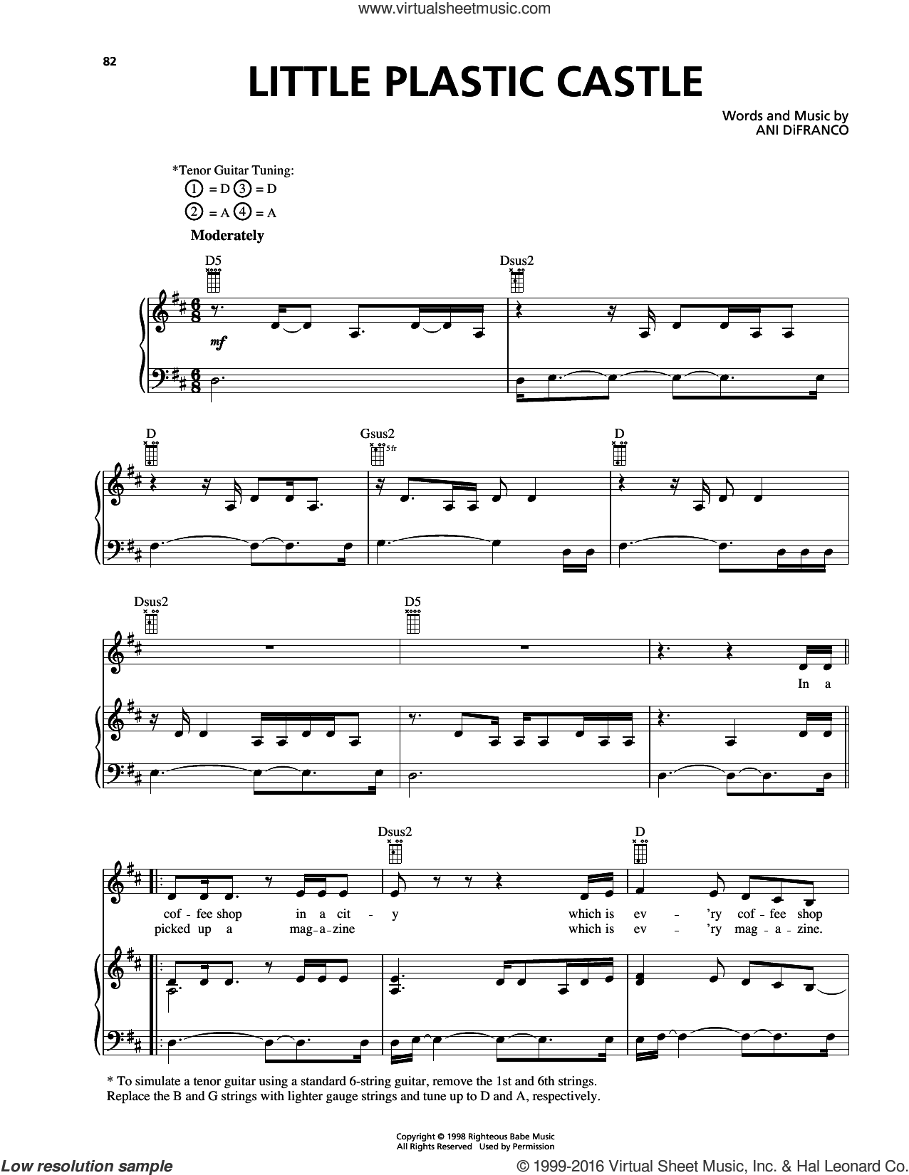 Little Plastic Castle sheet music for voice, piano or guitar by Ani DiFranco. Score Image Preview.