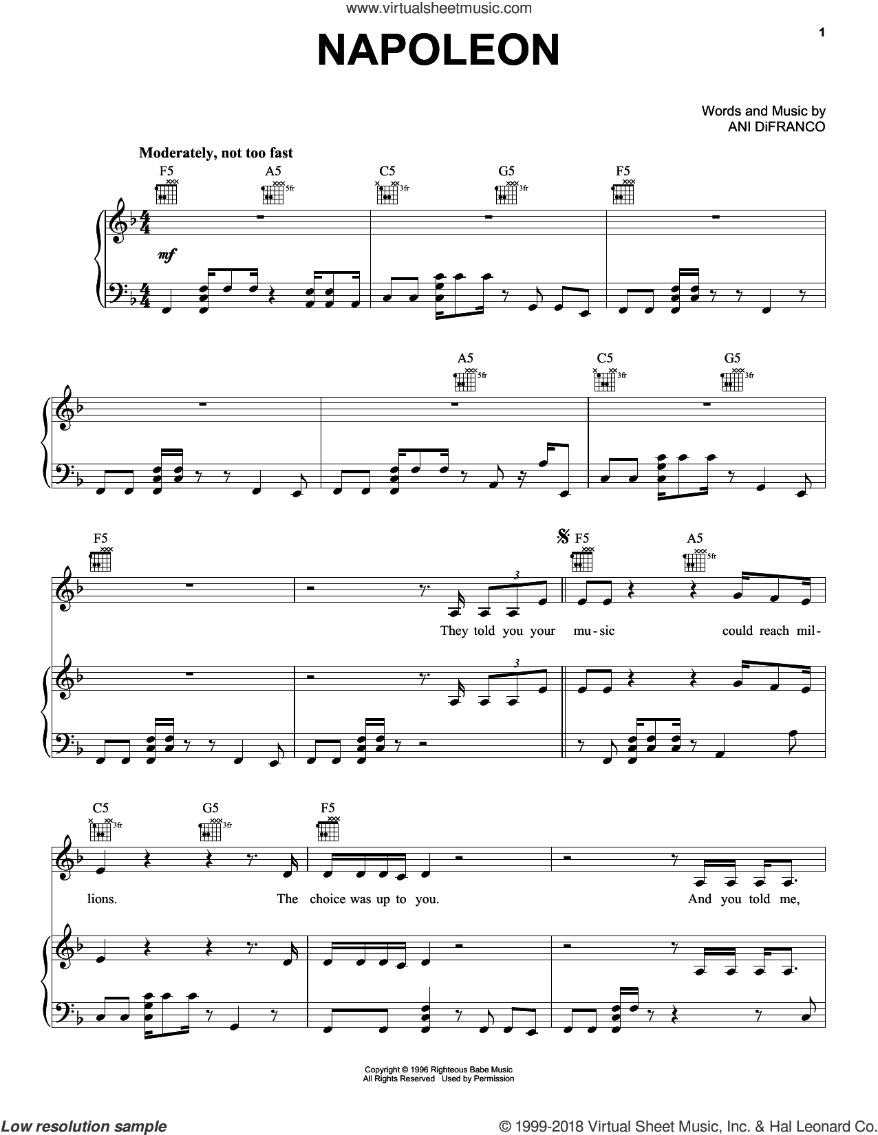 Napoleon sheet music for voice, piano or guitar by Ani DiFranco, intermediate