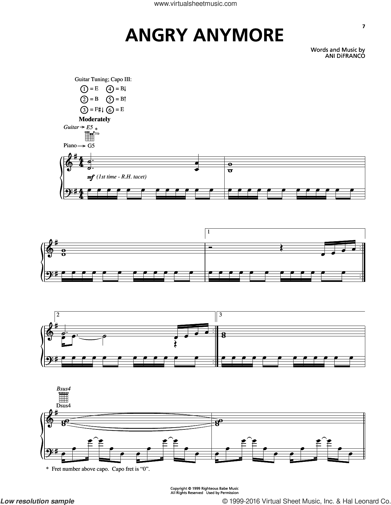 Angry Anymore sheet music for voice, piano or guitar by Ani DiFranco. Score Image Preview.
