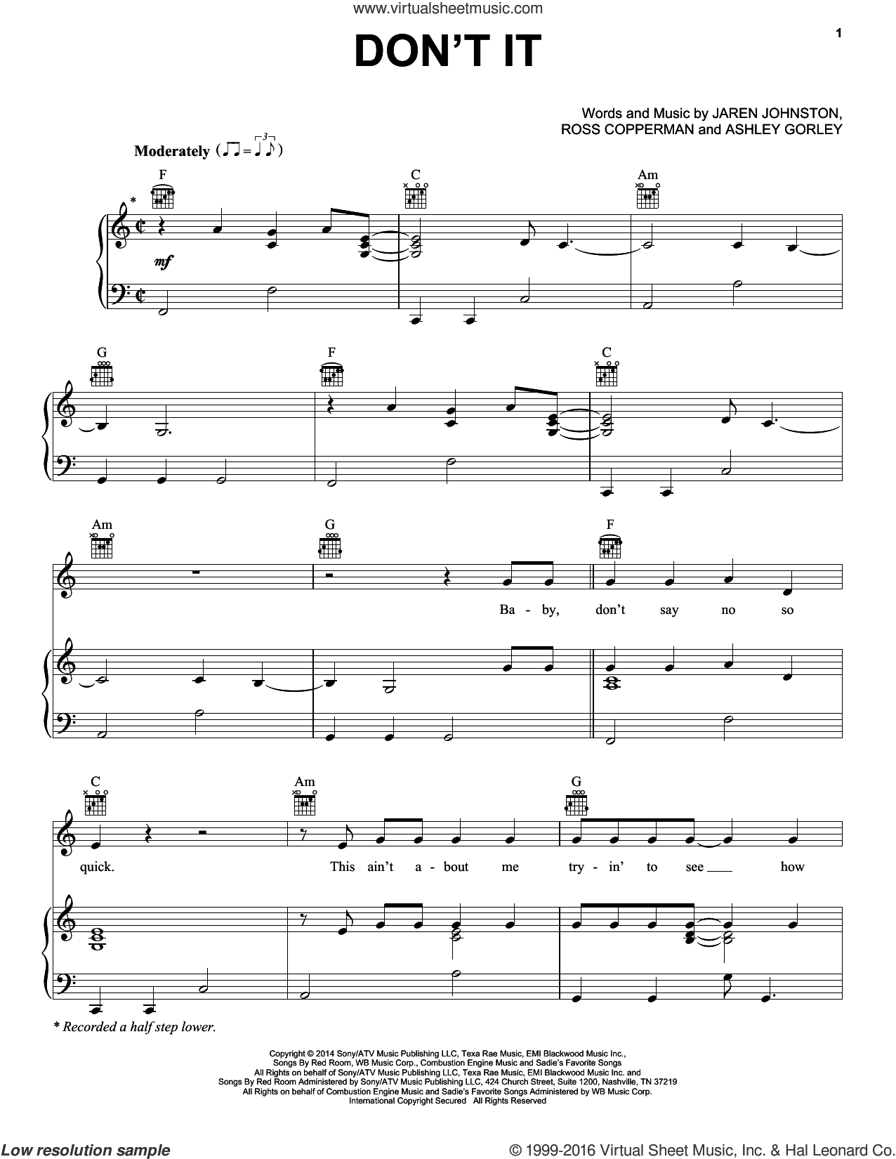 Don't It sheet music for voice, piano or guitar by Billy Currington, Ashley Gorley, Jaren Johnston and Ross Copperman, intermediate skill level