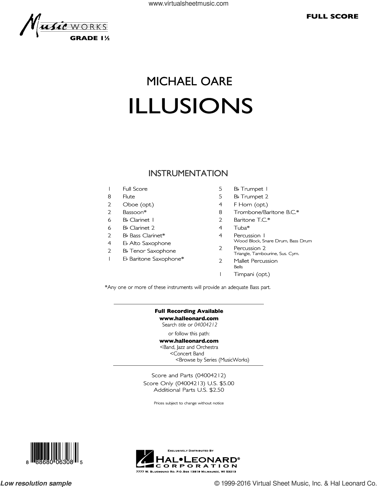 Illusions sheet music for concert band (full score) by Michael Oare. Score Image Preview.