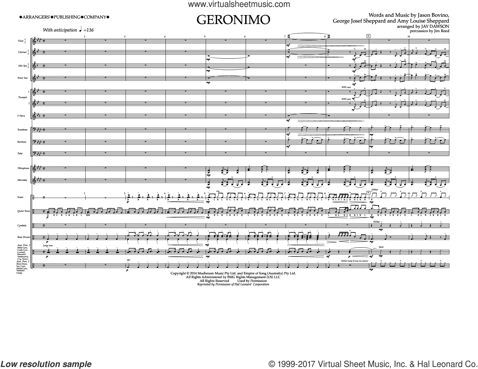 Geronimo (COMPLETE) sheet music for marching band by Jay Dawson, Amy Louise Sheppard, George Josef Sheppard, Jason Bovino and Sheppard, intermediate skill level