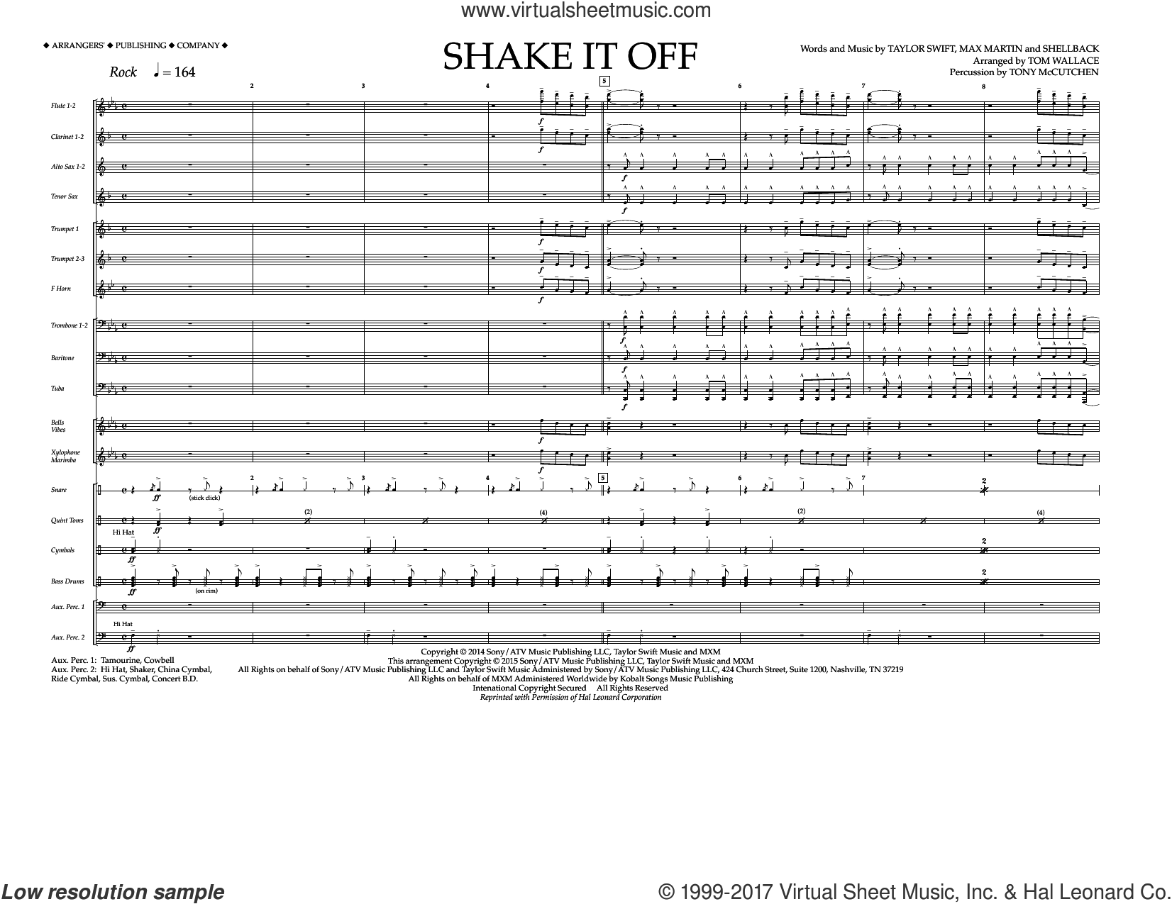 Shake It Off, complete collection (COMPLETE) sheet music for marching band by Taylor Swift, Johan Schuster, Max Martin, Shellback and Tom Wallace, intermediate marching band. Score Image Preview.