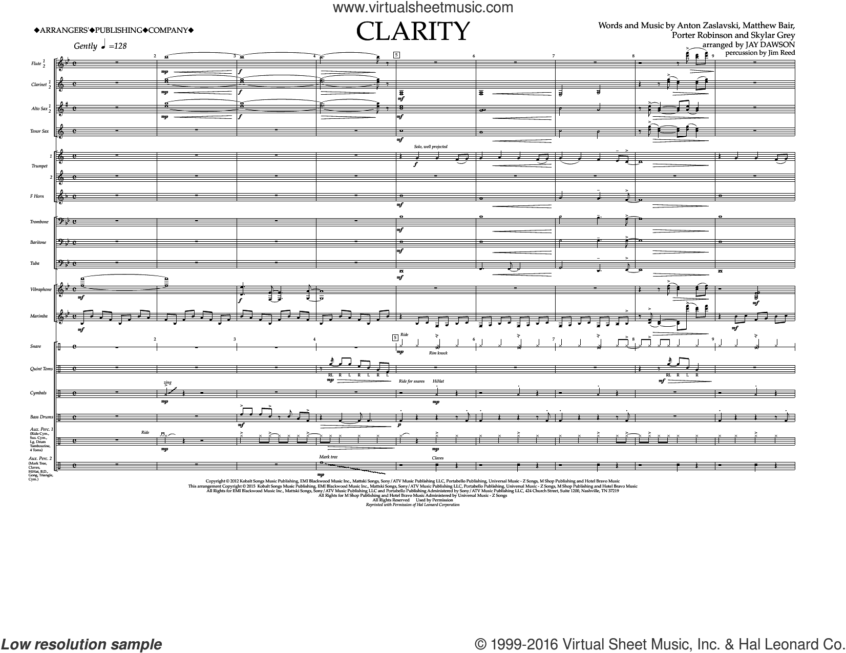Clarity (COMPLETE) sheet music for marching band by Zedd, Anton Zaslavski, Jay Dawson and Skylar Grey. Score Image Preview.