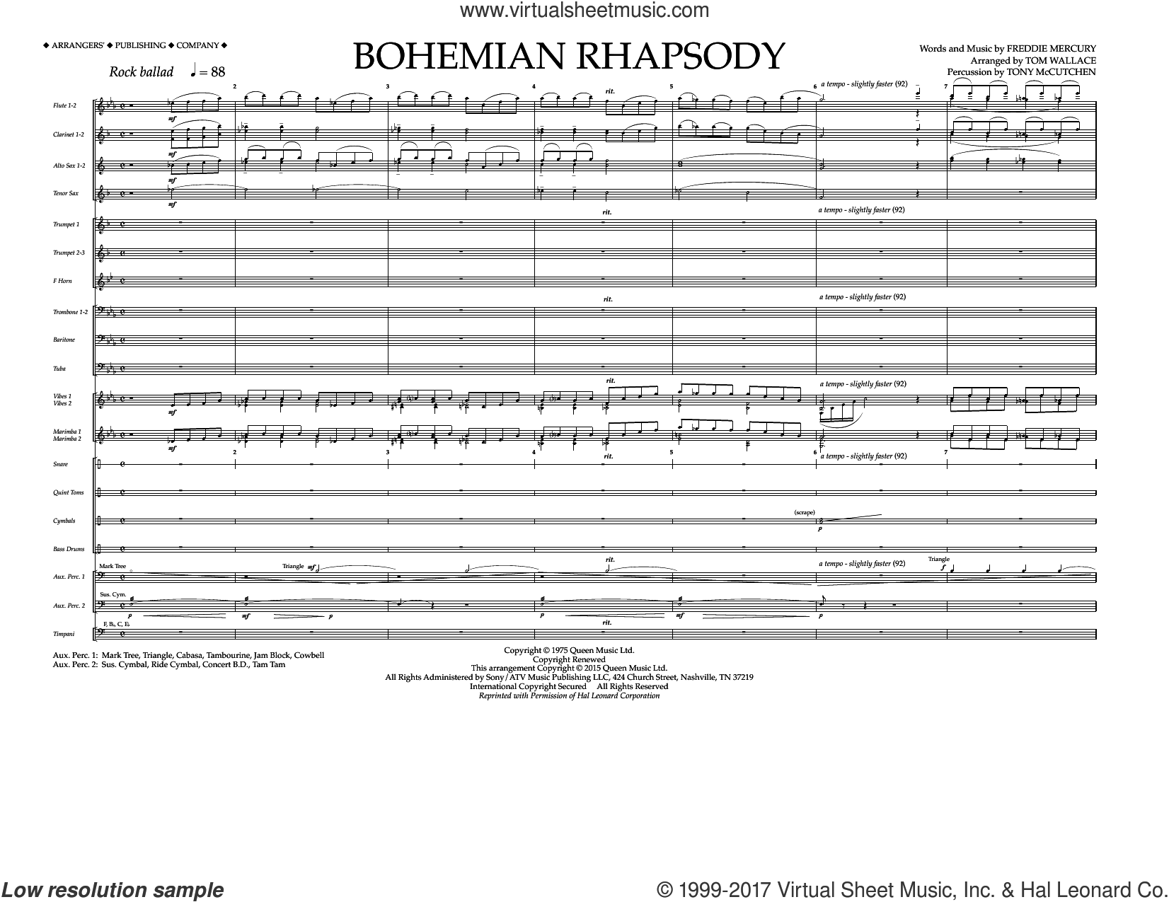 Bohemian Rhapsody (COMPLETE) sheet music for marching band by Queen, Freddie Mercury and Tom Wallace, intermediate. Score Image Preview.