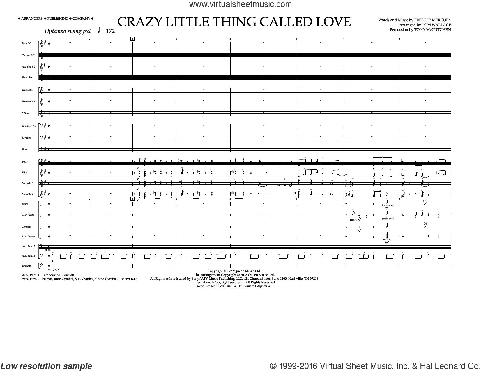 Crazy Little Thing Called Love (COMPLETE) sheet music for marching band by Freddie Mercury, Dwight Yoakam, Queen and Tom Wallace. Score Image Preview.