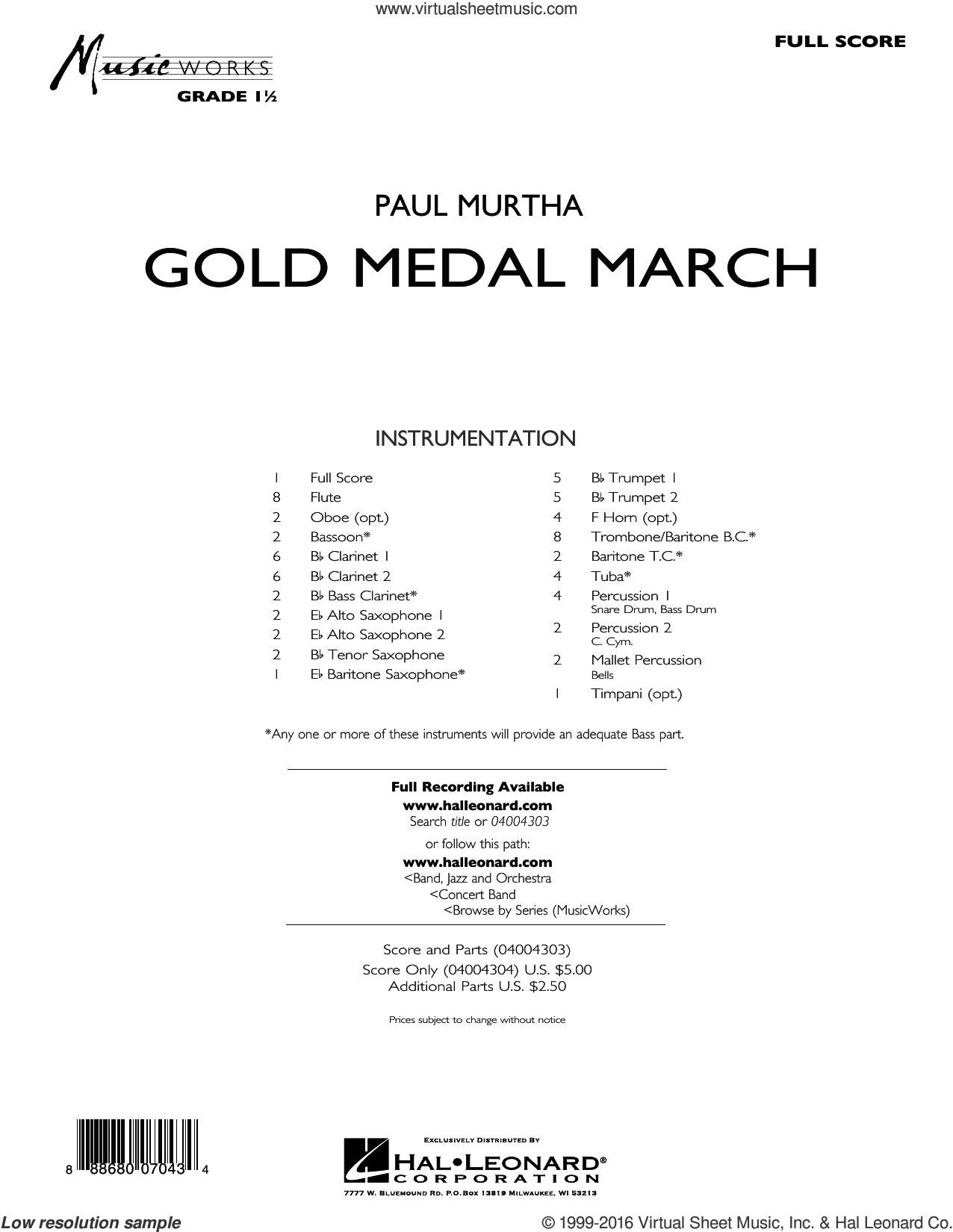 Gold Medal March sheet music for concert band (full score) by Paul Murtha. Score Image Preview.