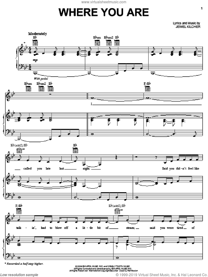 Where You Are sheet music for voice, piano or guitar by Jewel and Jewel Kilcher, intermediate skill level