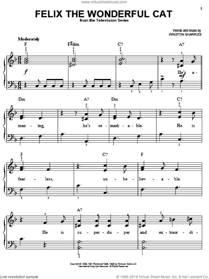 Felix The Wonderful Cat sheet music for piano solo by Winston Sharples. Score Image Preview.