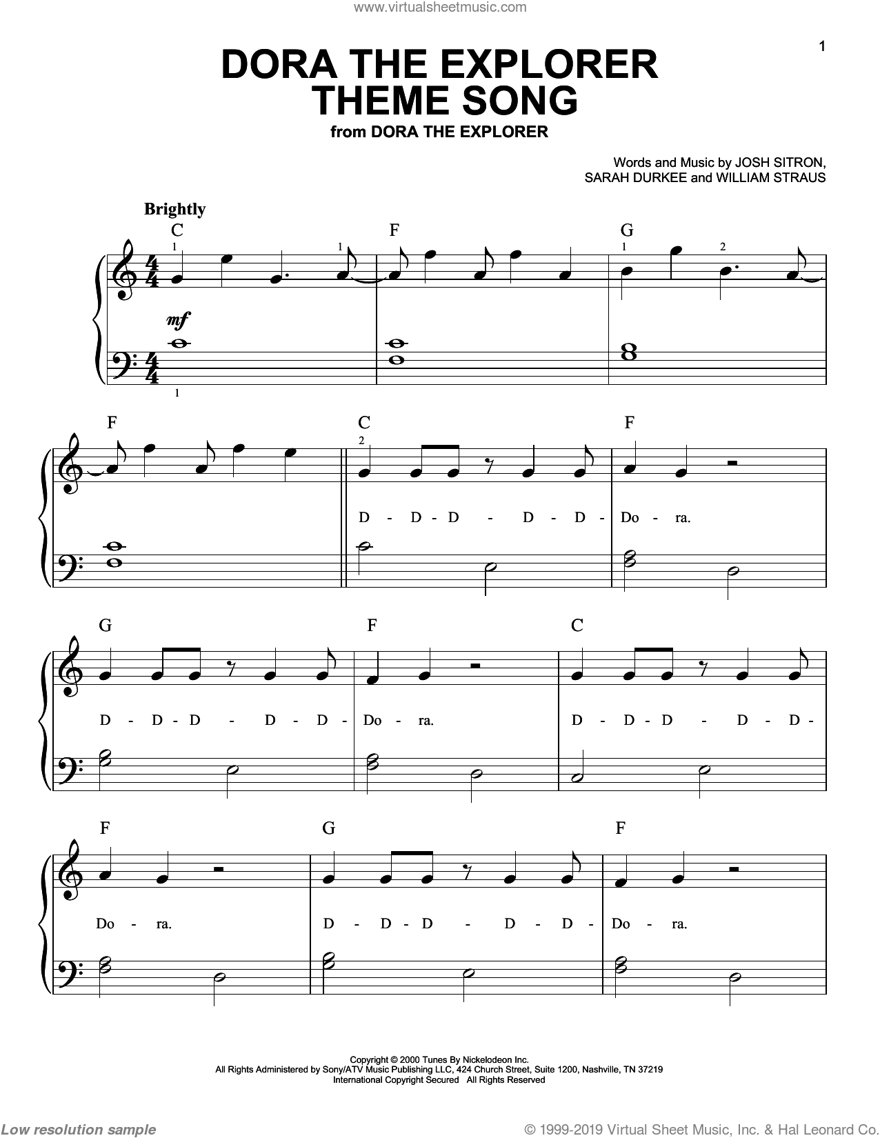 Dora The Explorer Theme Song sheet music for piano solo by Josh Sitron, Billy Straus and Sarah Durkee, easy skill level