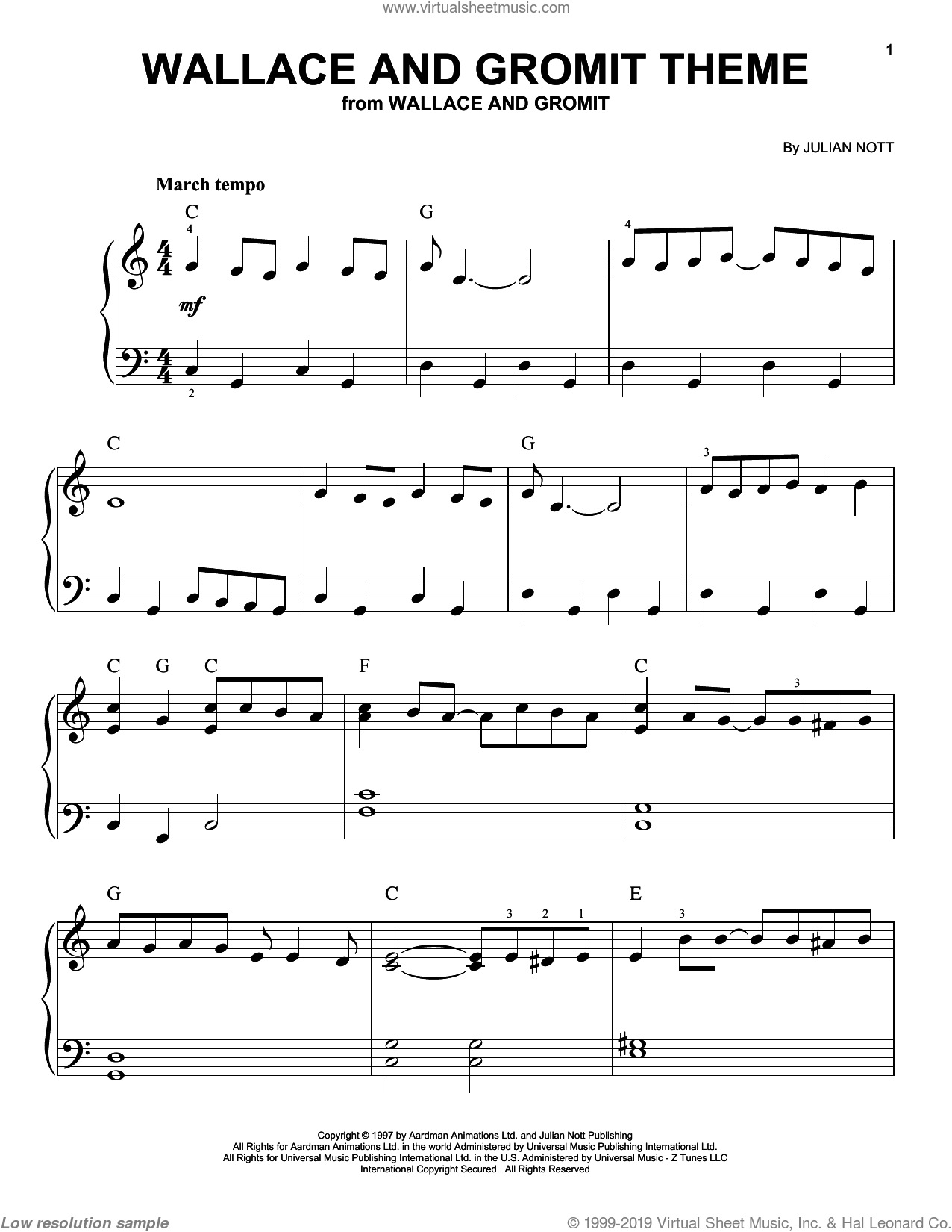 Wallace And Gromit Theme, (easy) sheet music for piano solo by Julian Nott, easy skill level