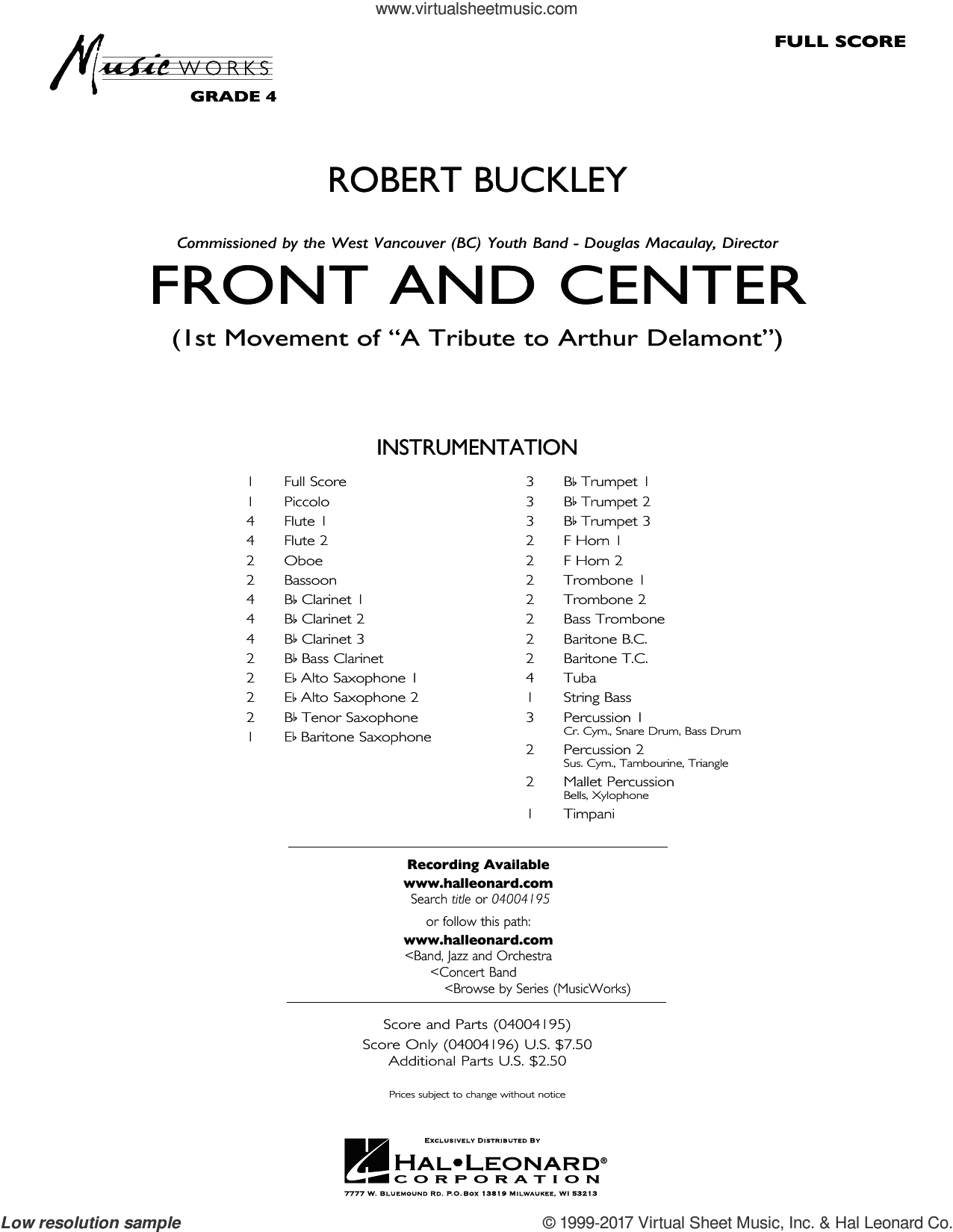 Front and Center (COMPLETE) sheet music for concert band by Robert Buckley, intermediate skill level