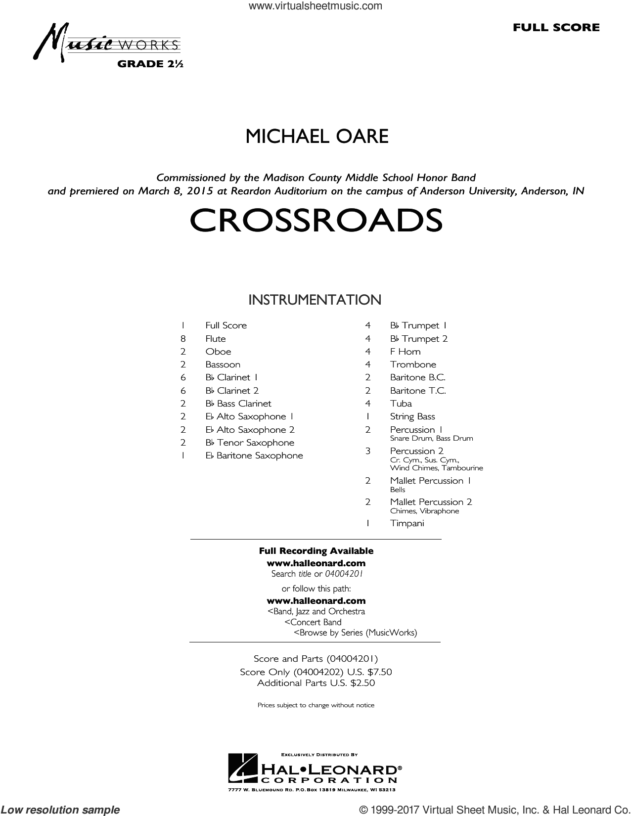 Crossroads (COMPLETE) sheet music for concert band by Michael Oare, intermediate skill level