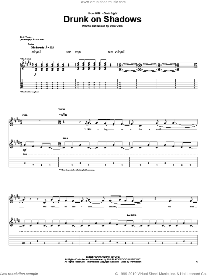 Drunk On Shadows sheet music for guitar (tablature) by Ville Valo and H.I.M.. Score Image Preview.