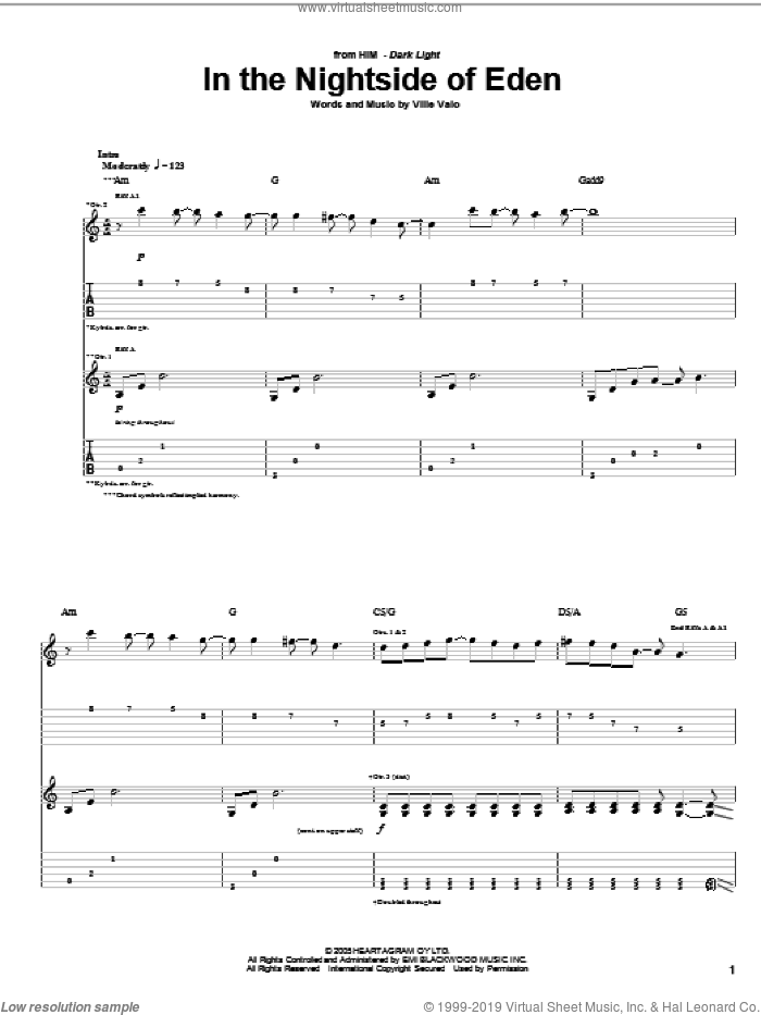 In The Nightside Of Eden sheet music for guitar (tablature) by HIM and Ville Valo, intermediate skill level