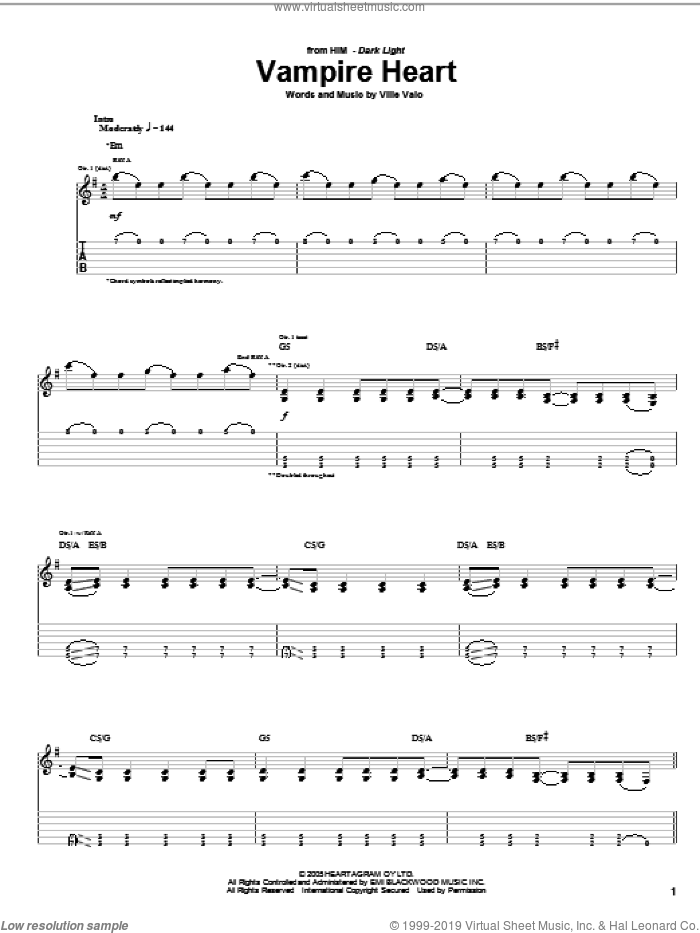 Vampire Heart sheet music for guitar (tablature) by HIM and Ville Valo, intermediate