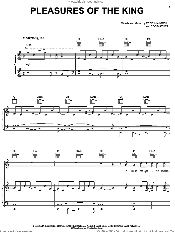 Pleasures Of The King sheet music for voice, piano or guitar by Steve Green, Fred MacKrell and Robert Mathes, intermediate. Score Image Preview.