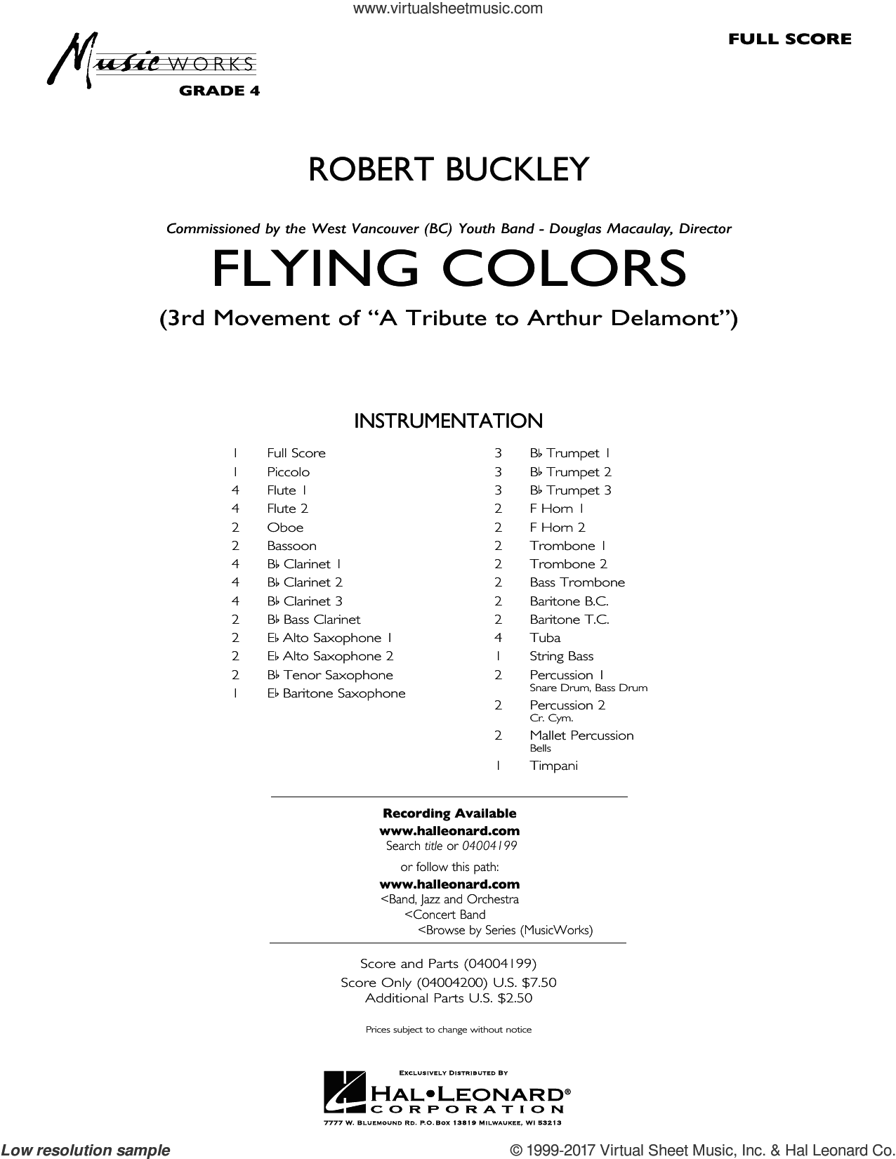Flying Colors (COMPLETE) sheet music for concert band by Robert Buckley, intermediate skill level
