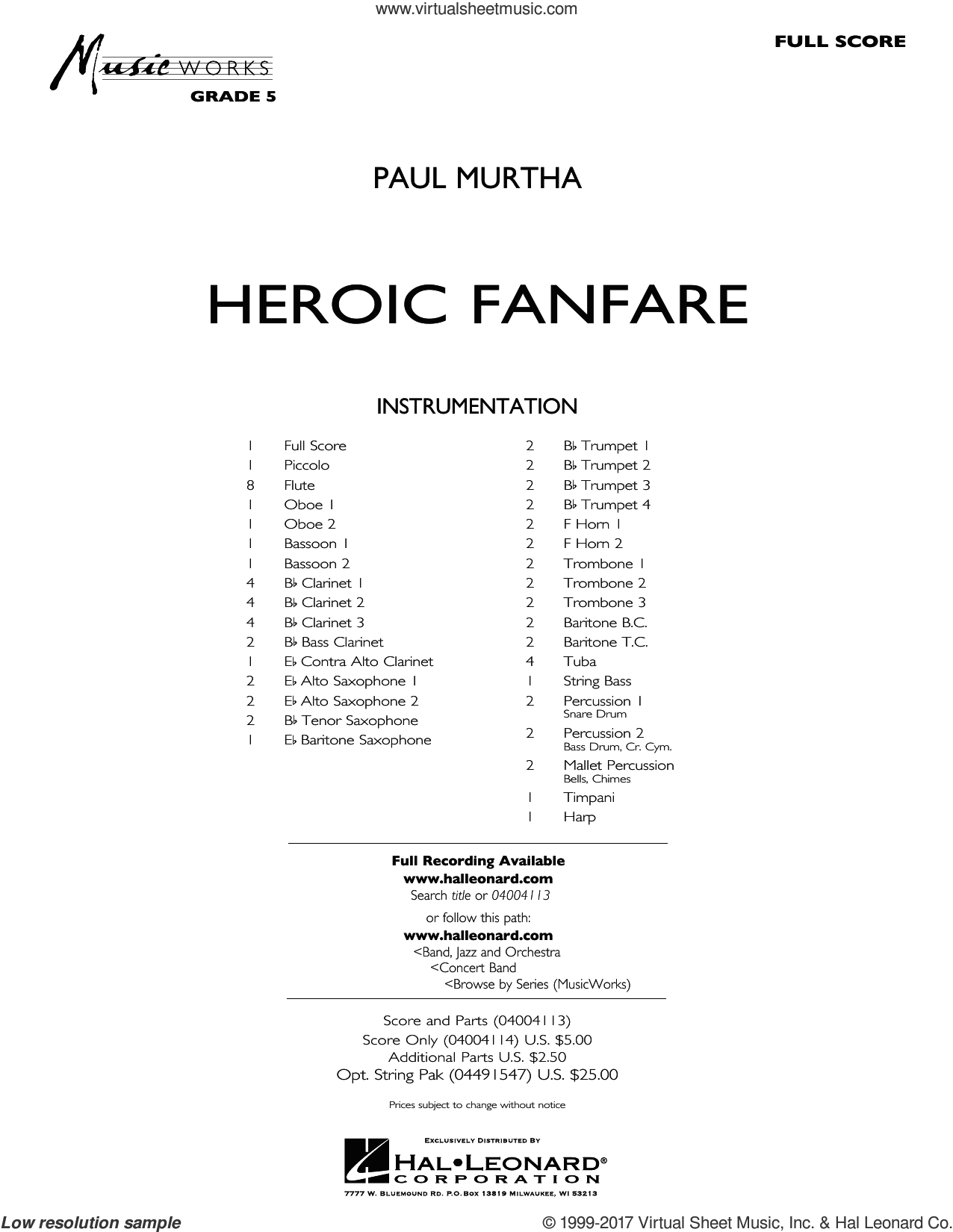 Heroic Fanfare (COMPLETE) sheet music for concert band by Paul Murtha, intermediate skill level