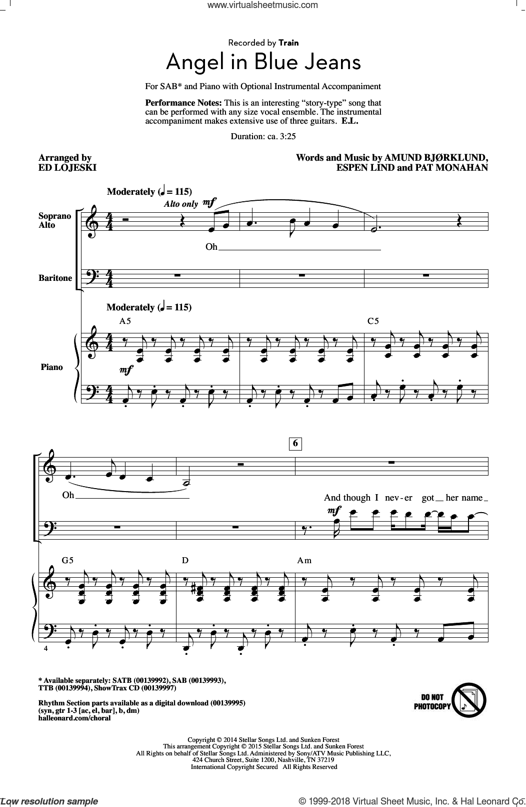 Angel In Blue Jeans sheet music for choir (SAB: soprano, alto, bass) by Ed Lojeski, Train, Amund Bjorklund, Espen Lind and Pat Monahan, intermediate skill level
