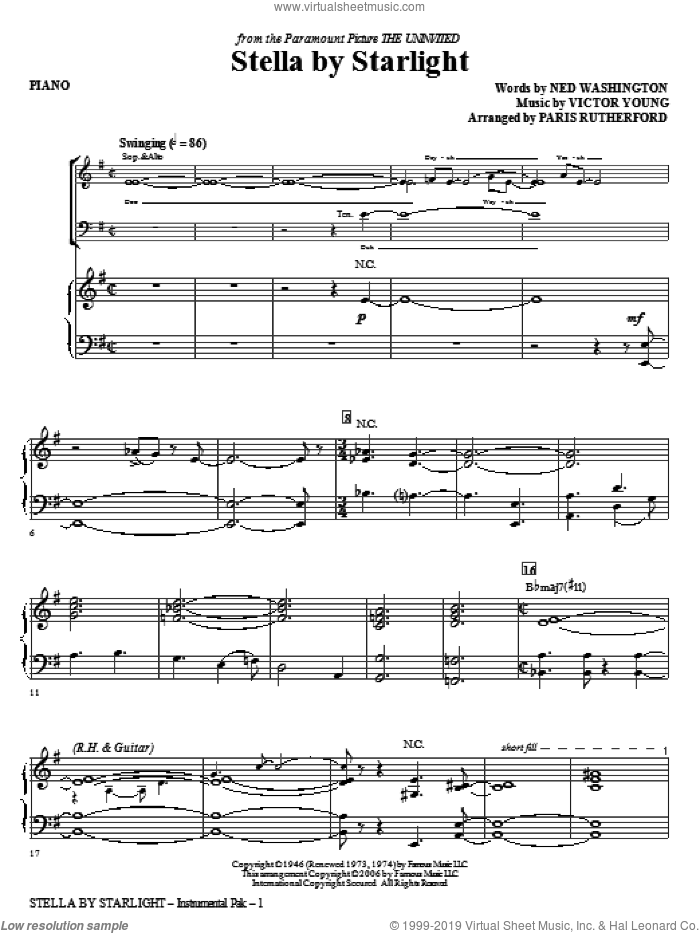 Stella By Starlight (complete set of parts) sheet music for orchestra/band (Rhythm) by Ned Washington, Victor Young, Ella Fitzgerald and Paris Rutherford, intermediate. Score Image Preview.