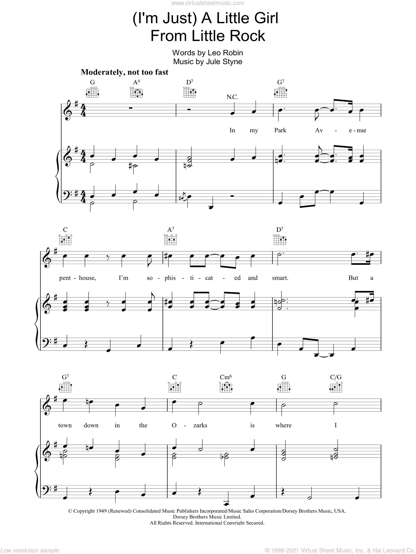A Little Girl From Little Rock sheet music for voice, piano or guitar by Jule Styne and Leo Robin, intermediate skill level