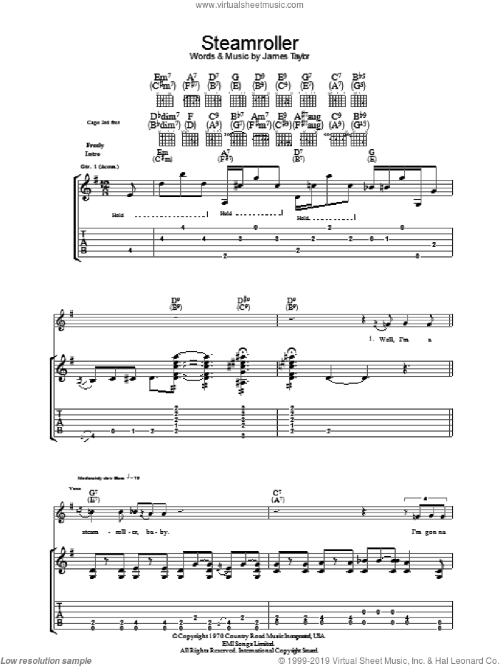 Steam Roller sheet music for guitar (tablature) by James Taylor. Score Image Preview.