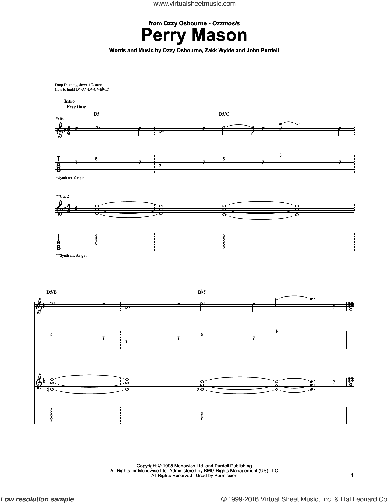 Perry Mason sheet music for guitar (tablature) by Ozzy Osbourne, John Purdell and Zakk Wylde, intermediate skill level