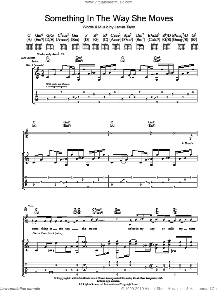 Something In The Way She Moves sheet music for guitar (tablature) by James Taylor, intermediate. Score Image Preview.