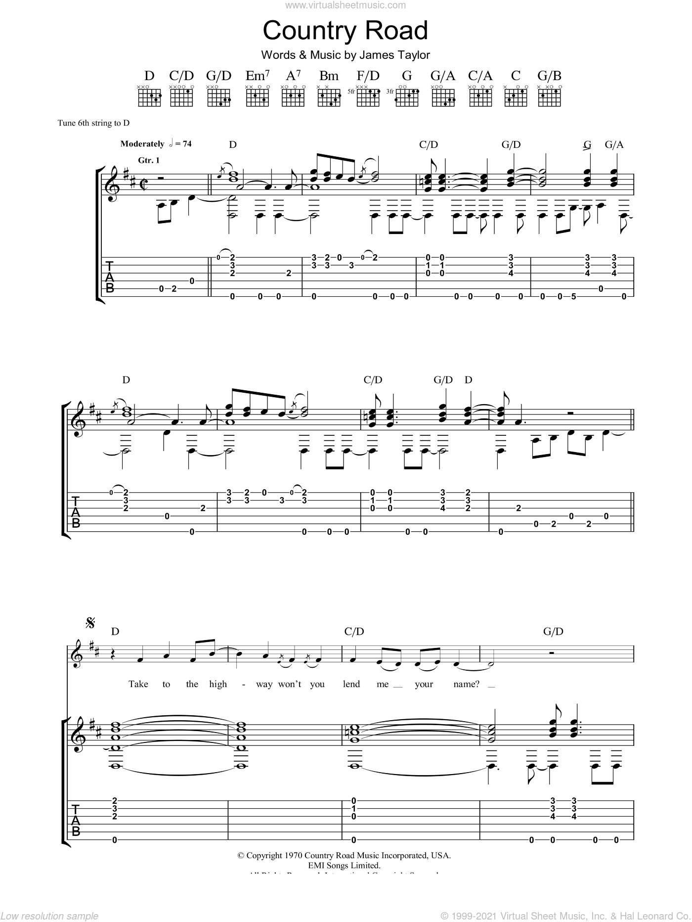 Country Road sheet music for guitar (tablature) by James Taylor. Score Image Preview.