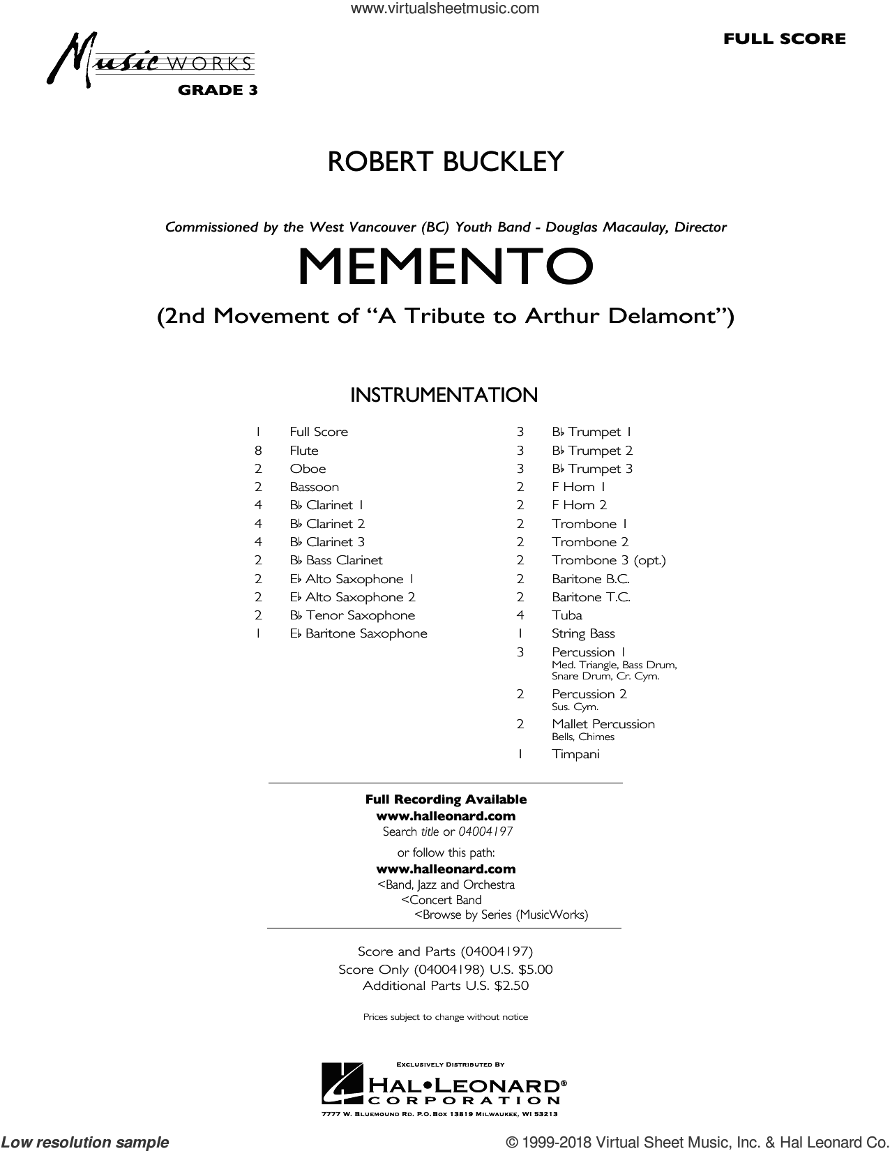 Memento (COMPLETE) sheet music for concert band by Robert Buckley, intermediate skill level