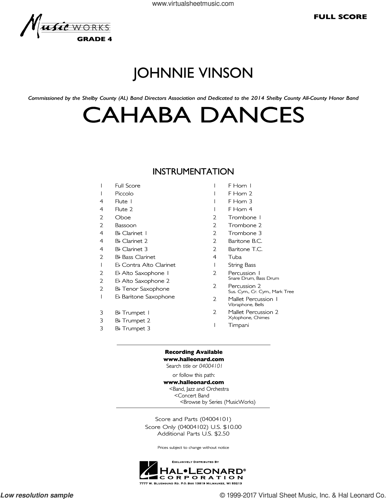 Cahaba Dances (COMPLETE) sheet music for concert band by Johnnie Vinson, intermediate skill level