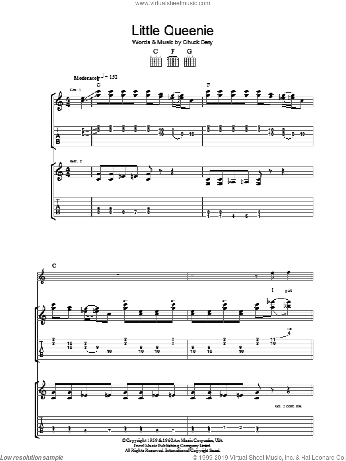 Little Queenie sheet music for guitar (tablature) by Chuck Berry. Score Image Preview.