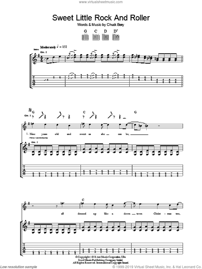 Sweet Little Rock And Roller sheet music for guitar (tablature) by Chuck Berry. Score Image Preview.
