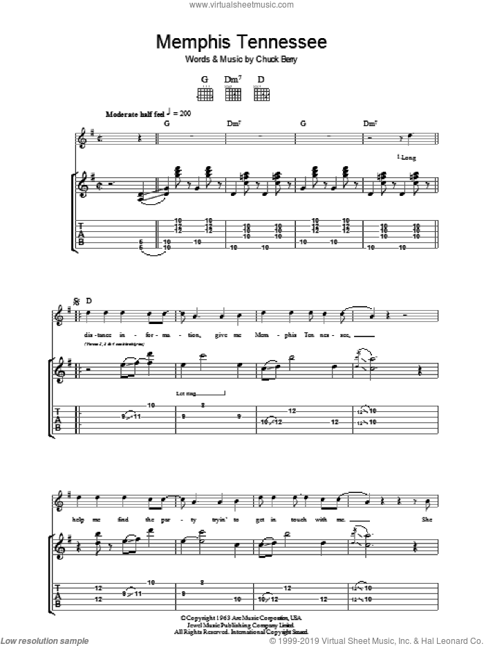 Memphis Tennessee sheet music for guitar (tablature) by Chuck Berry, intermediate skill level