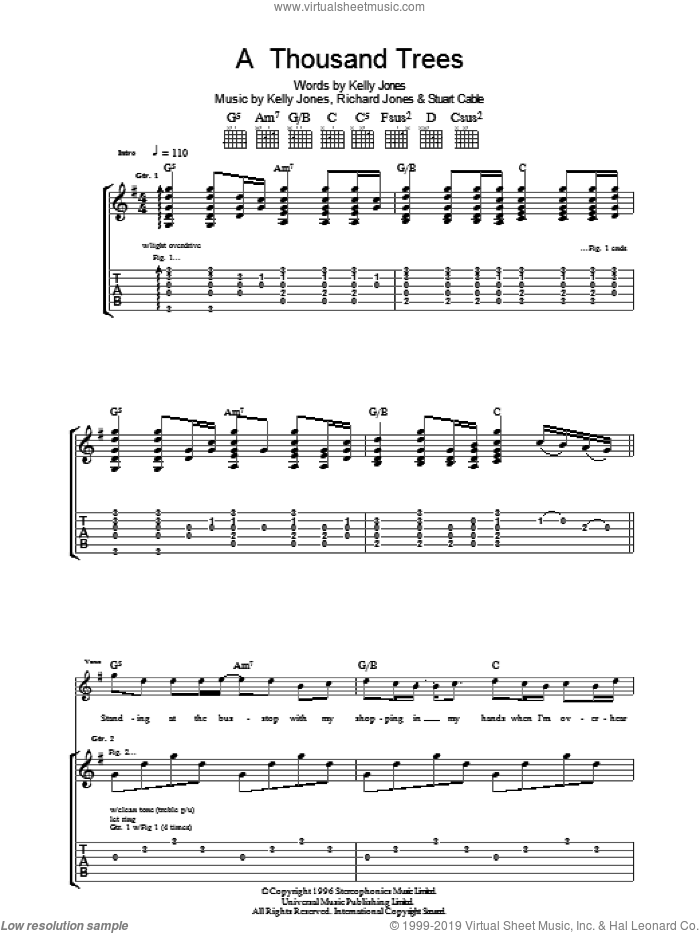 A Thousand Trees sheet music for guitar (tablature) by Stereophonics, Kelly Jones, Richard Jones and Stuart Cable, intermediate. Score Image Preview.