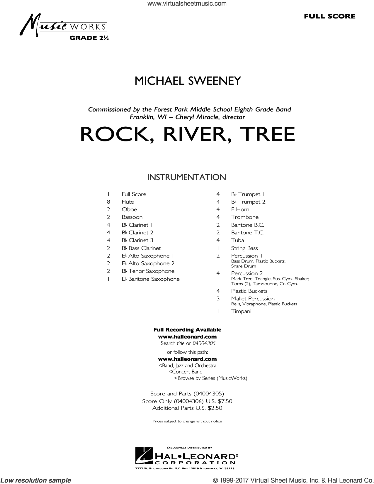 Rock, River, Tree (COMPLETE) sheet music for concert band by Michael Sweeney, intermediate concert band. Score Image Preview.