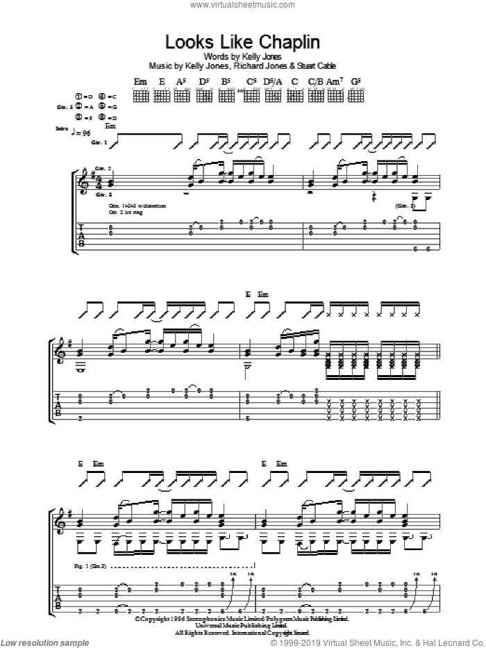 Looks Like Chaplin sheet music for guitar (tablature) by Richard Jones