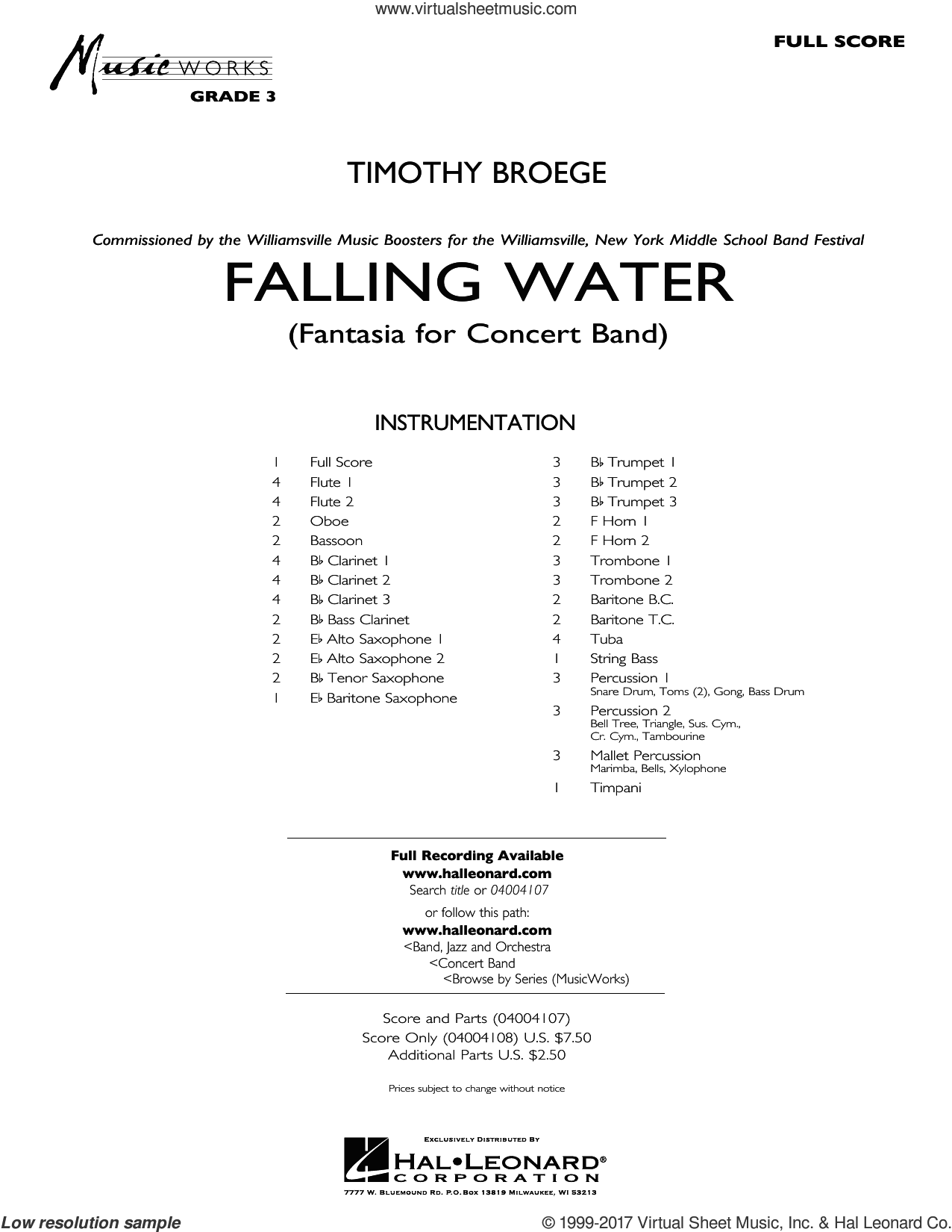 Falling Water (COMPLETE) sheet music for concert band by Timothy Broege, intermediate. Score Image Preview.