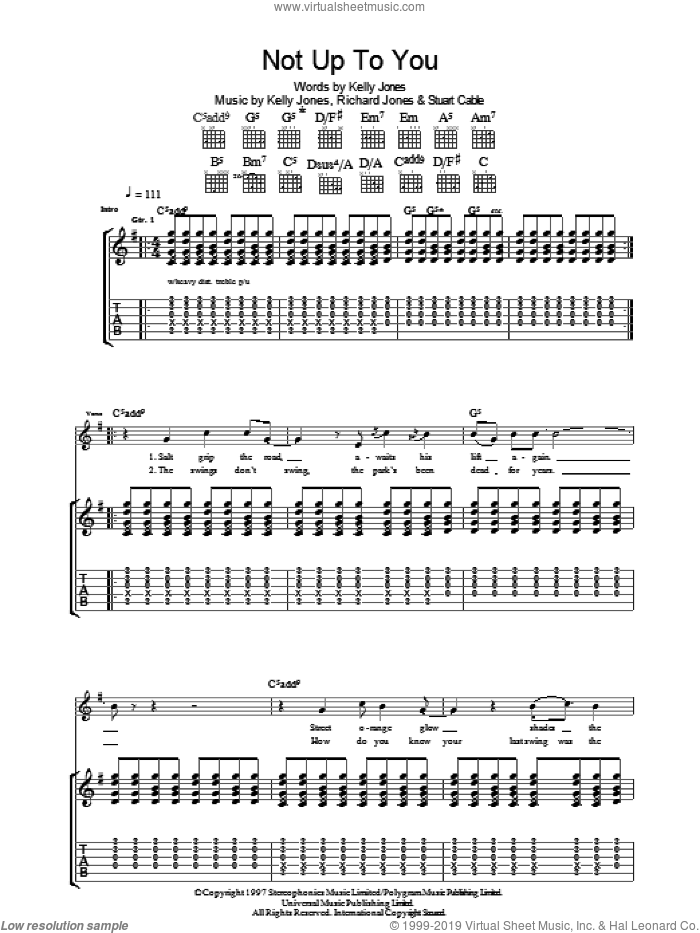 Not Up To You sheet music for guitar (tablature) by Stereophonics, intermediate. Score Image Preview.