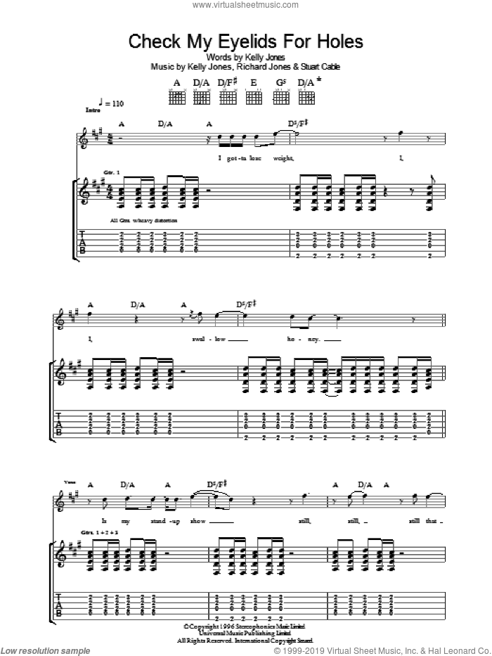 Check My Eyelids For Holes sheet music for guitar (tablature) by Stereophonics. Score Image Preview.
