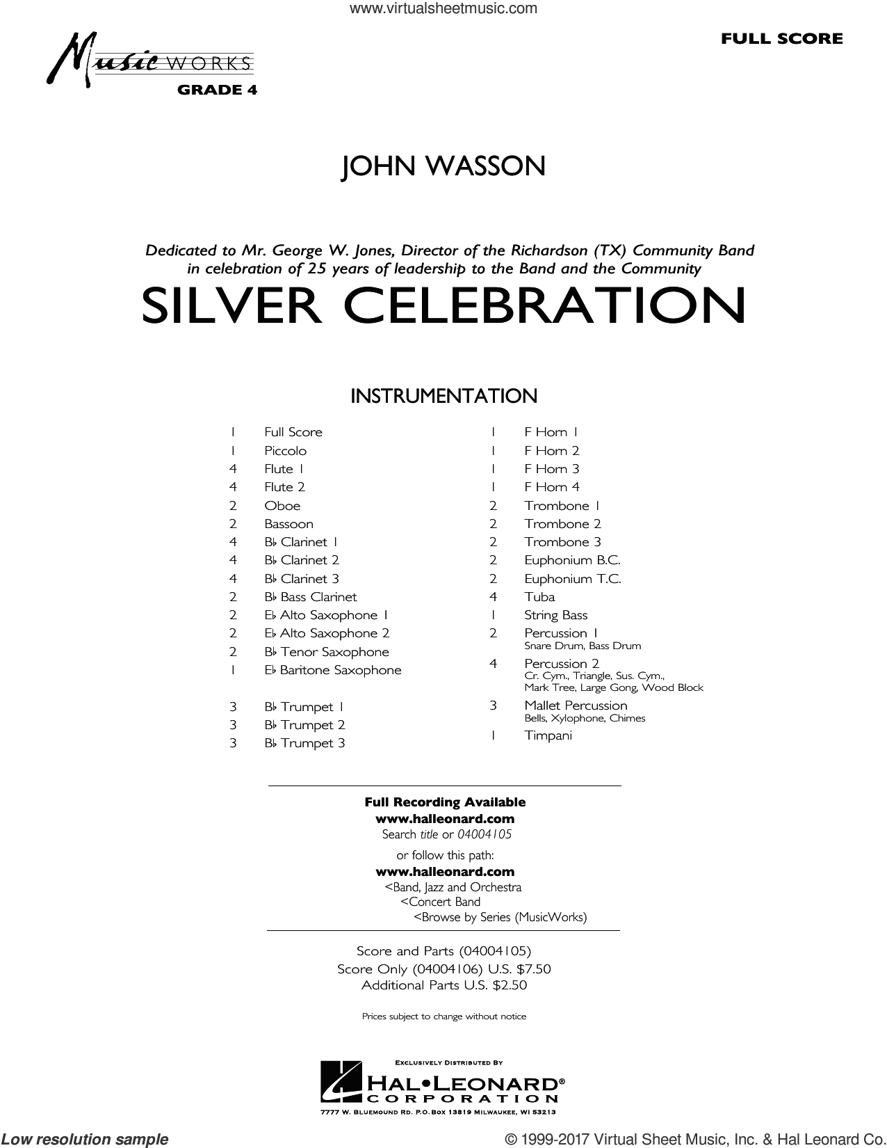 Silver Celebration (COMPLETE) sheet music for concert band by John Wasson, intermediate. Score Image Preview.