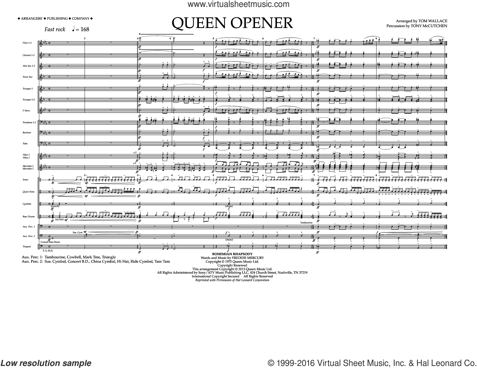 Queen Opener (COMPLETE) sheet music for marching band by Tom Wallace and Queen. Score Image Preview.