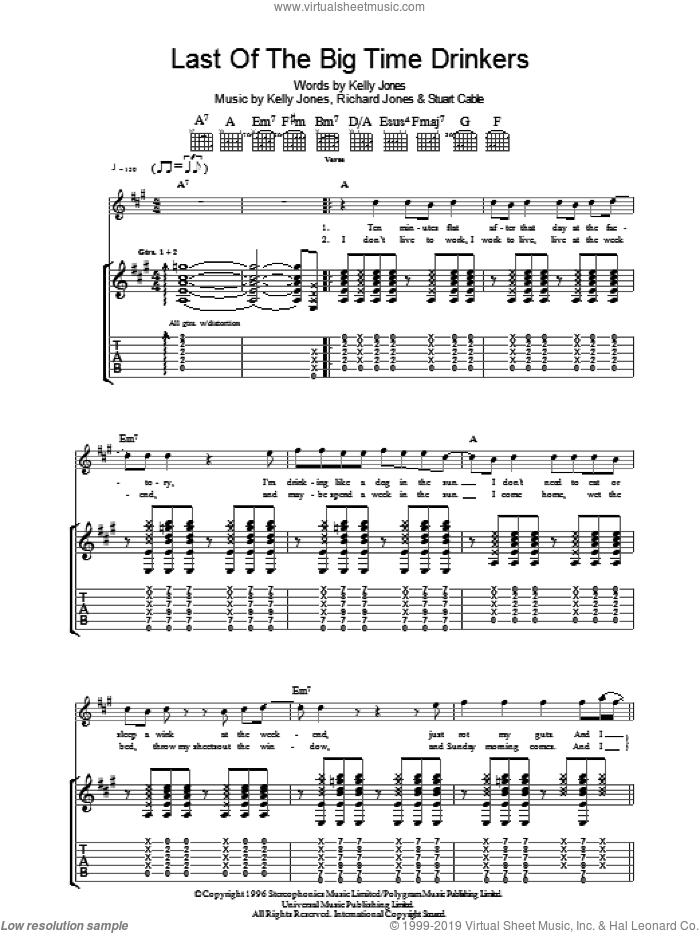 Last Of The Big Time Drinkers sheet music for guitar (tablature) by Stereophonics, Kelly Jones, Richard Jones and Stuart Cable, intermediate skill level