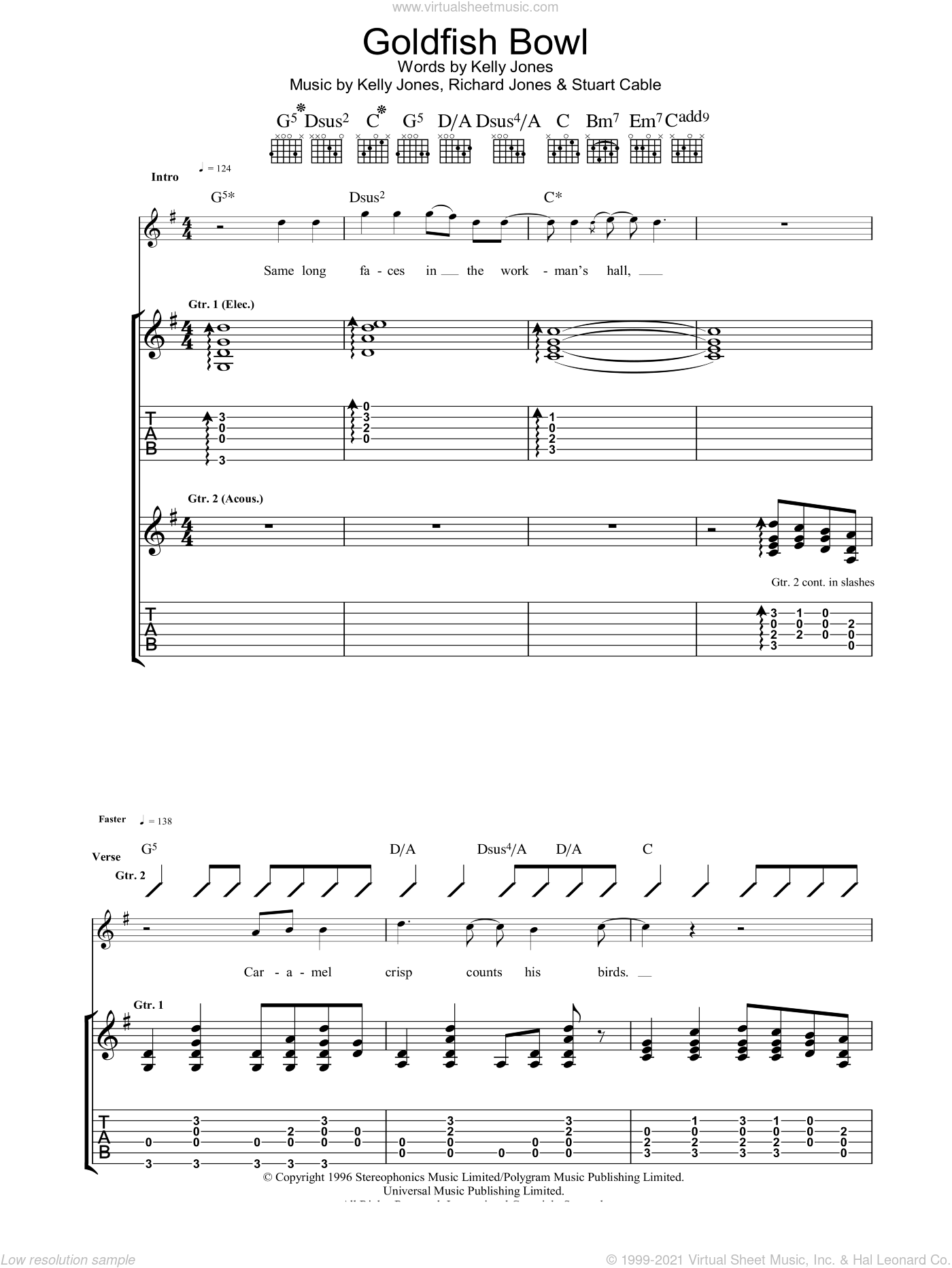 Goldfish Bowl sheet music for guitar (tablature) by Stuart Cable, Stereophonics, Kelly Jones and Richard Jones