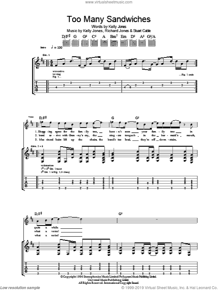 Too Many Sandwiches sheet music for guitar (tablature) by Stuart Cable, Stereophonics, Kelly Jones and Richard Jones. Score Image Preview.