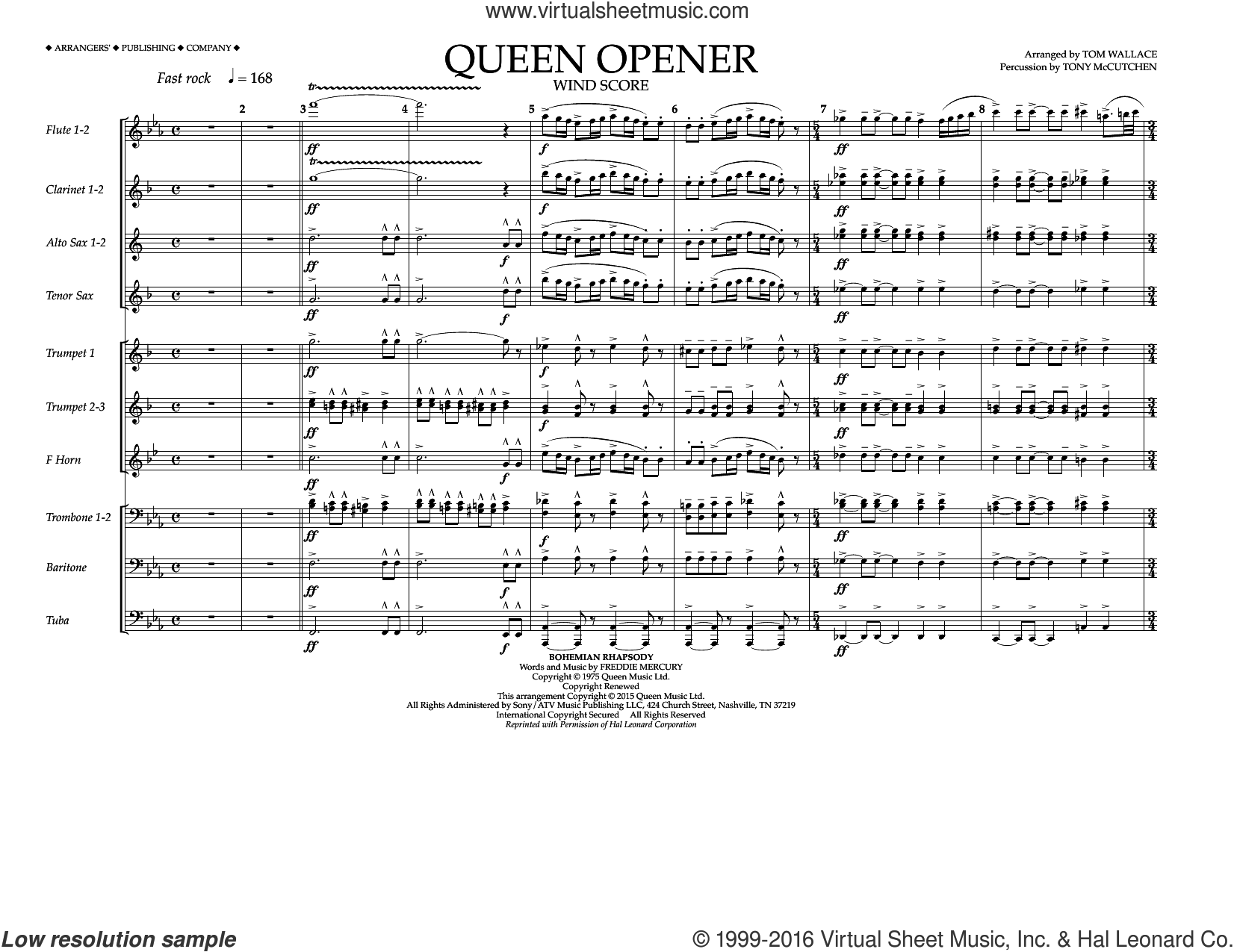 Queen Opener sheet music for marching band (wind score) by Tom Wallace and Queen. Score Image Preview.