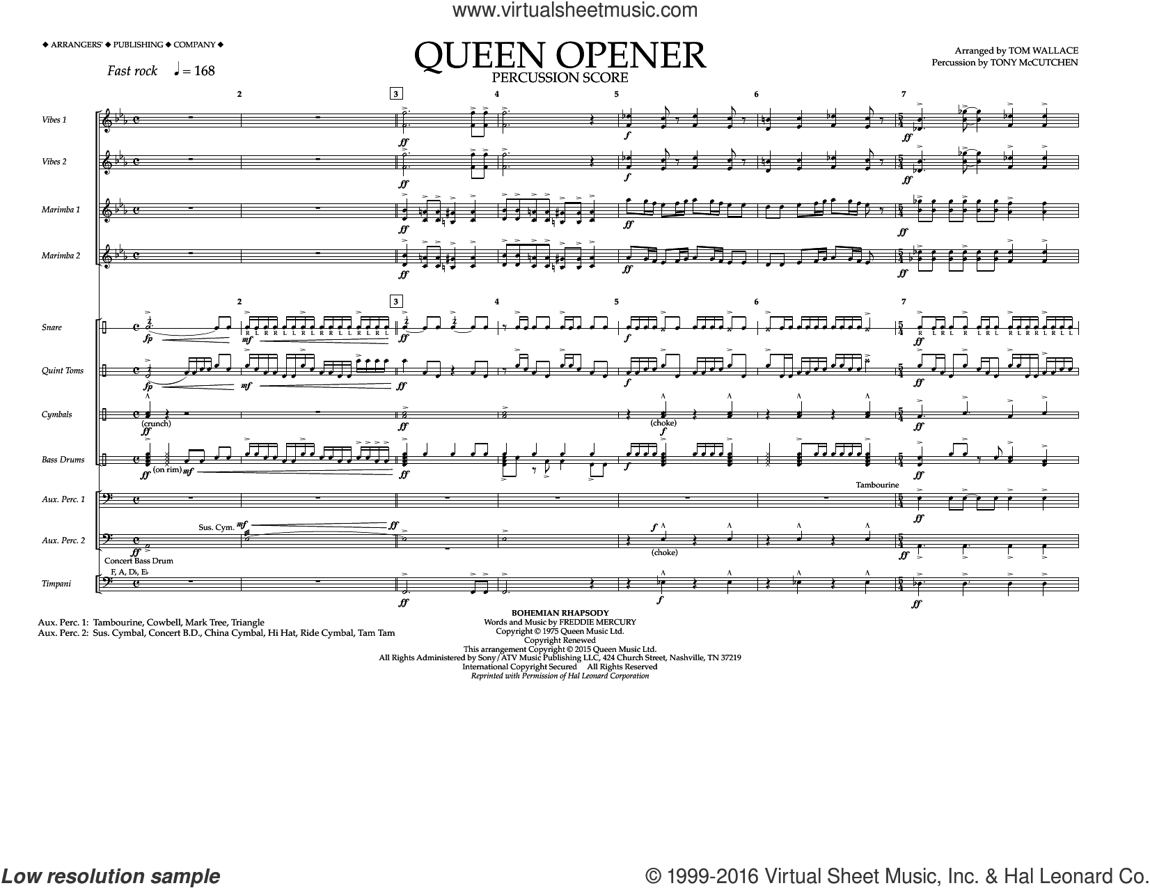 Queen Opener sheet music for marching band (percussion score) by Queen and Tom Wallace. Score Image Preview.