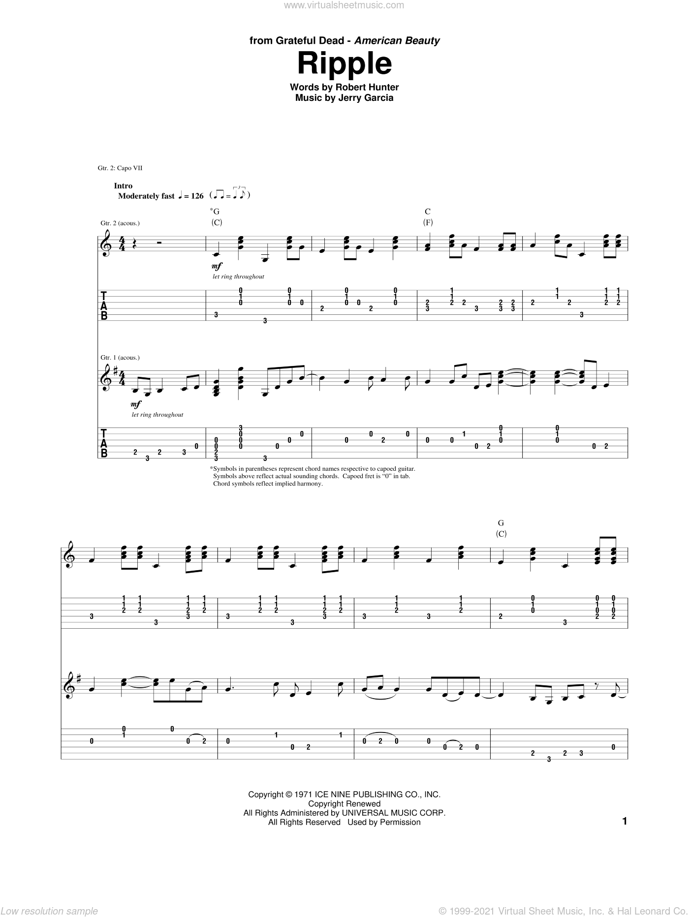 Ripple sheet music for guitar (tablature) by Grateful Dead, Jerry Garcia and Robert Hunter, intermediate skill level